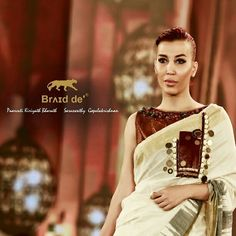Braid de'® Paarvati Saraswathy Kerala Handloom 2K18  Leather on Ikat Kerala Saree -British Indian Coins ( 100 years )  paired with Leather blouse ( Rhine stones)  Official Photographer Braid de'® - An Abi Yesodaran Group  Show Director- Faheem Show Choreographer- Sandeep Gowda. International Model - Raya Jahan  #Keralasaree #Leather #Handloom #Handwoven #Ikat #IkatKeralaSaree #britishcoins #India #Maggomwork #Elephant