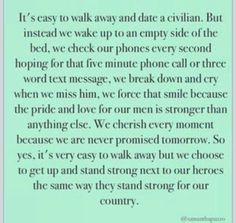 Military Deployment Quotes for Wives Deployment Quotes, Military Deployment, Military Man, Military Post, Usmc Love, Marine Love, Air Force Girlfriend, Marines Girlfriend, Police Wife