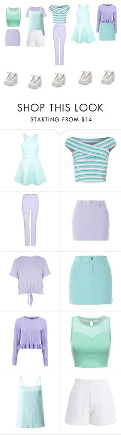 """""""Pastel style - A group of five members"""" by lehongan ❤ liked on Polyvore featuring Miss Selfridge, Carven, Topshop, Boohoo and Chicwish"""