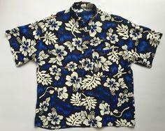 Camicia uomo vintage size L blu usato Retro style fiore manica corta