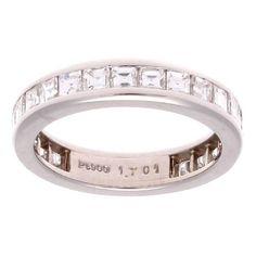 Asscher Cut Diamond Platinum Eternity Band Ring | From a unique collection of vintage wedding rings at https://www.1stdibs.com/jewelry/rings/wedding-rings/