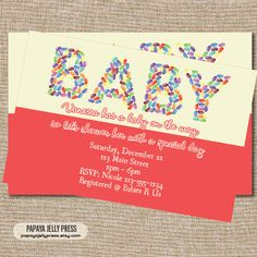 JELLY BEAN Baby Shower Invitations  Cute by PapayaJellyPress, $12.00