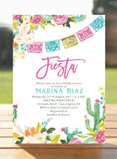 Fiesta Bridal shower invitation  Mexican by WisemonkeyPaperie