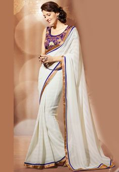 White Faux Chiffon Saree with Blouse Online Shopping: SZY200