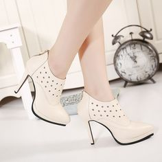 32.28$  Buy here - http://ai9bp.worlditems.win/all/product.php?id=32467454988 - 2015 Fall Pierced Stiletto Women High Heels Pointed Ankle Boots Platform Black Beige Zipper Bootie