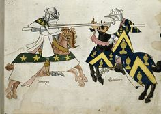 Jousting knights, featured in Sir Thomas Holme's Book of Arms, circa 1445.