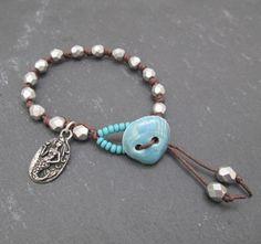 Mermaid bracelet shell button bracelet knotted by BeadyDaze