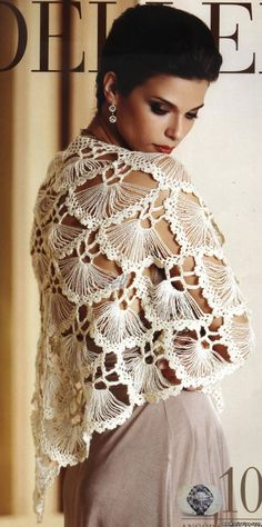 Ivelise Hand Made: Crochet Shawl In Divine! Poncho Au Crochet, Crochet Shawl Diagram, Crochet Scarves, Crochet Clothes, Crochet Stitches, Knit Crochet, Knit Shawls, Crochet Edgings, Freeform Crochet