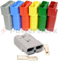 Available in Blue, Gray, Red, Yellow, Orange and Green. Recommended for use with 4/0, 3/0, 2/0 or 1/0 gauge wire. Kit includes the housing and contacts needed for a single connector.