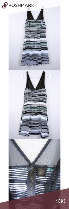 Petticoat Alley Stripe Cocktail Dress Like new, excellent used condition. Petticoat Alley, Anthropology brand. Great cocktail dress. Sleeveless, mesh on top, white with black and green stripe. Petticoat Alley Dresses Mini
