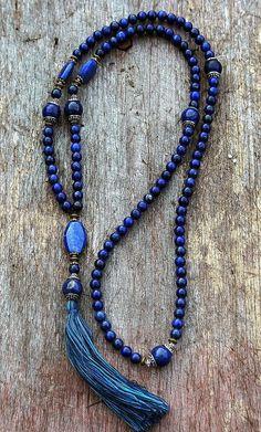 Mala made of 108, 8 mm - 0.315 inch, lapis lazuli gemstones