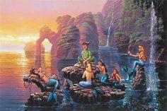 """Mermaid Lagoon"" by Rodel Gonzalez - Original Oil on Canvas, 20x30.  #Disney #PeterPan #DisneyFineArt #RodelGonzalez"