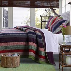 Bungalow, Striped Quilt, Ruffle Bedding, Boho Bedding, Vintage Bedding, Up House, Twin Quilt, Quilt Sets, Cotton Quilts