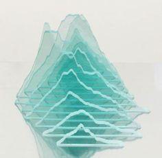 Patsy Payne,    'Mt Murray' 2007,    glass - nine twelve - unique,  10 x 17 x 36 cm