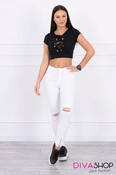 – Order now! Shops, Fashion Addict, Lady, Outfit Of The Day, White Jeans, Diva, Street Wear, Street Style, Boutique