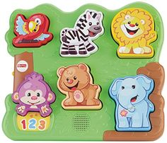 Five chunky animal figures are easy for baby to grasp hold match up & fit into the picture puzzle base! Monkey wants to introduce your baby to the animals in the zoo! When Baby fits each animal puzz...