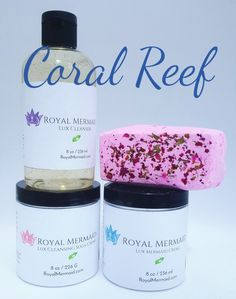 Coral Reef Skincare Collection  Create a life that you don't need a vacation from with Royal Mermaid & The Captain! We specialize in personalized products and incredible customer service. RoyalMermaid.com #royalmermaid #thecaptain #nomoredryskin #soothing #eczema #hormonesafe #pcossafe #pcos #psoriasis #shopsmall #gifts #birthday #bathfizzies #cleanser #skinpolish #mermaid #mermaidcreme #seasoak