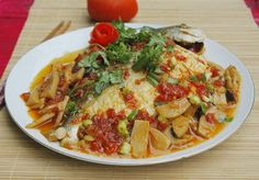 Simmered Fish with Mushrooms and Tomatoes Recipe