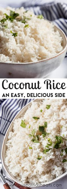 Fluffy Coconut Rice is the perfect savory side to serve with your favorite grilled meats, in rice bowls piled with beans, grilled veggies, and shredded Kalua Pork, and with many other dishes. Forget plain old white rice and elevate the flavor with coconut milk. Ready in 20 minutes! #rice #coconut #coconutmilk #sidedish #easy #jasminerice Rice Side Dishes, Best Side Dishes, Vegetable Side Dishes, Side Dish Recipes, Vegetable Recipes, Pasta Recipes, Grilled Veggies, Delicious Dinner Recipes, Good Food