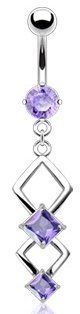 Amazon.com: 316L Surgical Steel Navel Jewelry with Double Marquise Lavender Crystal Dangle: Jewelry