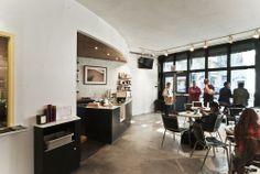 Everyman Espresso at 13th Street, East Village, NYC. Jane Kim Design.
