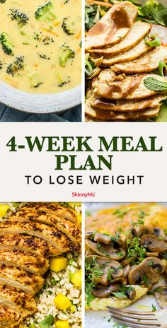 Reach your weight-loss goals with this 4-week meal plan designed to fill you up low-calorie, high-protein breakfast, lunch, and dinner options.