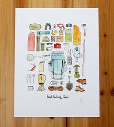 Backpacking Gear Print | Heading into the wilderness for the weekend? This illustration... | Posters