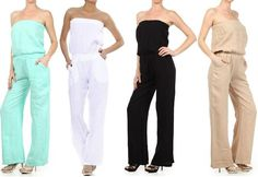 SEXY PALE BLUE 100% LINEN STRAPLESS JUMPSUIT TUBE LOOSE FITTING FULL WIDE LEG #LAFASHIONS #Jumpsuit