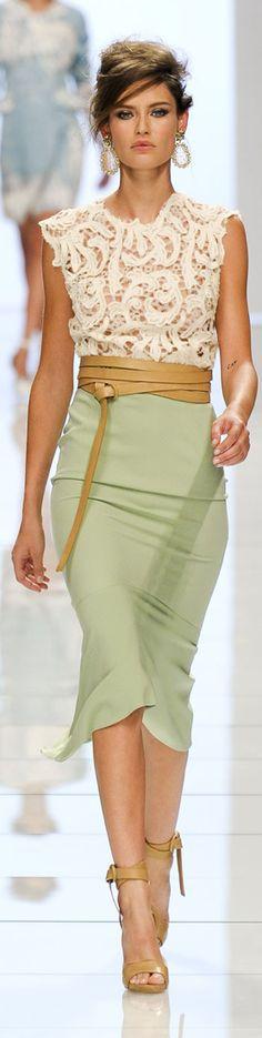 Billionairess Club:  Ermanno Scervino lace top and slim skirt