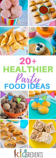 Healthy Meals For Kids 20 healthier party food ideas. Make your next kids party healthier with these alternatives to storebought and high sugar treats! Over 20 recipes to help make parties easier and more fun! Party Food For Toddlers, Healthy Kids Party Food, Cooking With Toddlers, Kids Party Snacks, Healthy Birthday, Easy Party Food, Healthy Snacks For Kids, Birthday Food Ideas For Kids, Healthy Appetizers