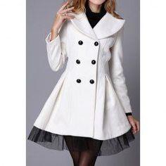 $32.37 Vintage Style Lapel Lace Hem Double Breasted Woolen Blend Coat For Women