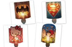 Character nightlights at Kids Fashion Clothing and Room Decor Free Shipping #SuperHero #Marvel #NightLight