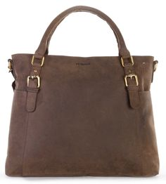LEABAGS Tulsa genuine buffalo leather shopper bag in vintage style *** See this great image