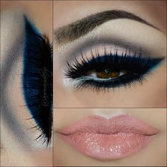 This look uses neutral eye shadow colors. It is made more intense with a cat eye using blue eyeliner and lush lashes. This night out look pairs well with nude lips. See the shop list here.