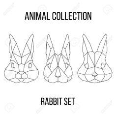 Set of geometric rabbit head isolated on white background vintage..