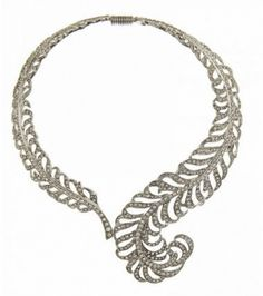 Kenneth Jay Lane - Silver Swarovski Crystal Feather Necklace by Thomas Laine