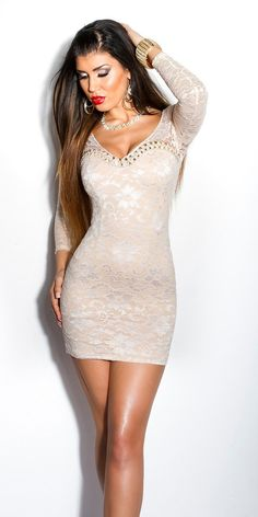 Sexy KouCla minidress with lace and pearls