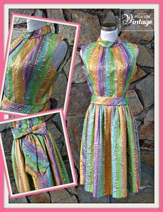 Vintage Pastel Stripe Metallic Party Cocktail by HighLowVintage