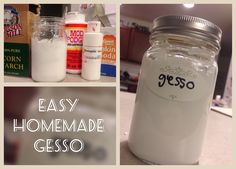 •Easy Homemade Gesso• 1/3 modge podge 1/3 cornstarch 1/6 white paint 1/6 baking soda this has worked well on my upcycled book art journals :D