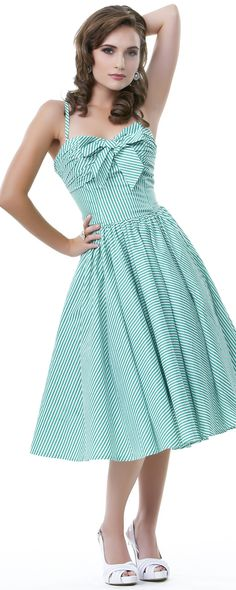 Seeing Stripes Dress With Bow - Unique Vintage - Cocktail, Pinup, Holiday & Prom Dresses.