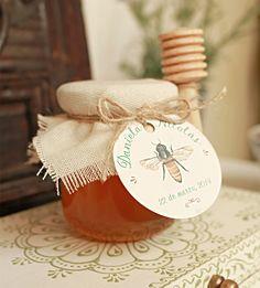 Frasco Miel 120cc + cubierta lino crudo + cuchara miel + etiqueta personalizada