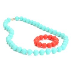 Love the colors of these aqua and coral chew beads- great for teething babies and pretty for Mom !