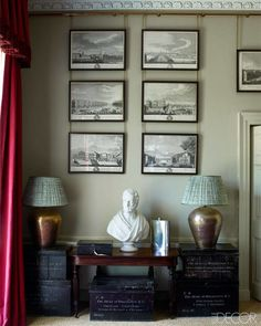 Prints of St Petersburg hang above a console in Jemma Kidd's Hampshire home.