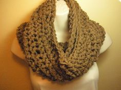 Cafe Latte Cowl Infinity Circle Scarf Neckwarmer by madebymandy35