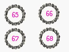 Zebra themed numbers 1-100