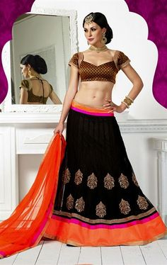 Picture of Chic Black Color Net Lehenga Choli
