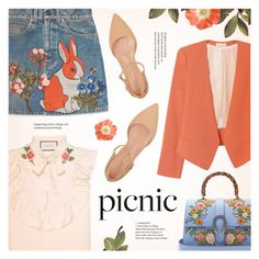 """""""Picnic in the Park"""" by redflowergirl ❤ liked on Polyvore featuring Gucci, Rebecca Taylor, Gianvito Rossi and picnic"""