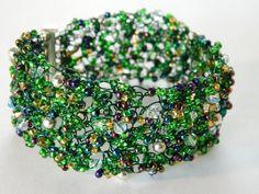 Wire Crochet cobweb cuff bracelet