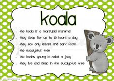 This set of 10 posters is the perfect addition to your classroom when learning about Australia and the animals that live there.Each poster features a picture of the animal and short interestin kindergarten Australia For Kids, Australia School, Australia Crafts, Australia Animals, Preschool Lessons, Teaching Kindergarten, Zoo Preschool, Kindergarten Crafts, Australian Animals Facts