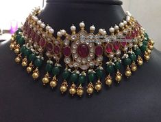 silver gold polish nakshi necklace with earrings. Kundan necklace with earrings. Gold Earrings Designs, Gold Jewellery Design, Necklace Designs, Fancy Jewellery, Latest Jewellery, Temple Jewellery, Bridal Jewellery, Silver Earrings, Gold Necklace